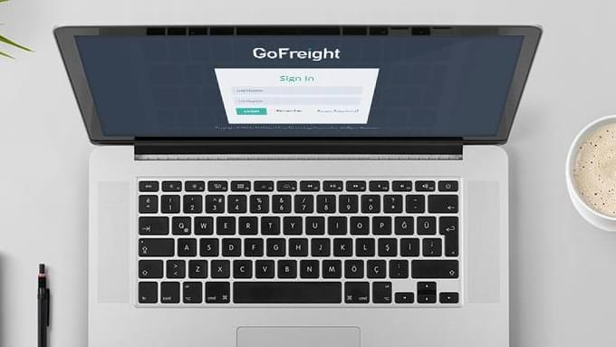 laptop screen showing GoFreight- Incredibly Simple Freight Forwarding Software